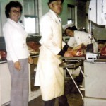 John and Grace DeVries in their butcher shop in Michigan