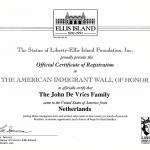 Ellis Island Certificate